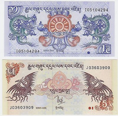 Bhutan SET - 1 & 5 Ngultrum 2006 - UNC