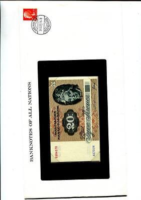 Denmark 20 Kroner 1979 Currency Note Stamp Cover Cu 9870F