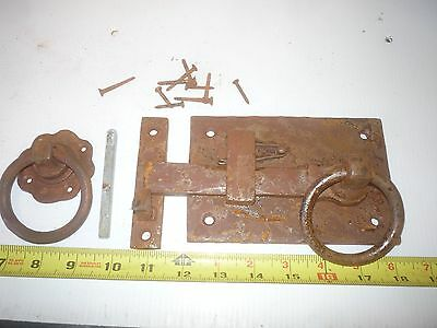 Old Antique Style Rustic Log Cabin House Iron Door Knob Latch Set