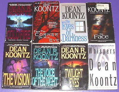 DEAN KOONTZ lot of 8 Horror/Thriller PBs COLD FIRE The Face VISION Whispers ++