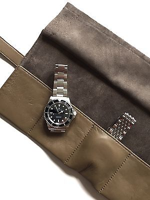 JPM Genuine Brown Leather Luxury Six Watch Travel Pouch Roll Handmade In Italy