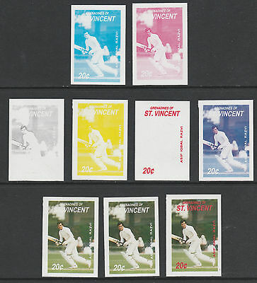 St Vincent Grenadines 4831 - 1988 RAZVI (Cricketer) set of 9 PROGRESSIVE PROOFS