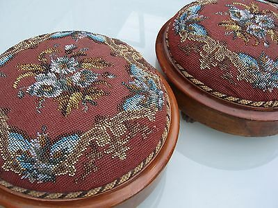 Pair Of Victorian Beadwork Tapestry Footstools Mahogany Bun Feet Floral+ Border