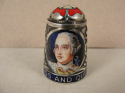 Peter Swingler Silver & Enamel THIMBLE: KING GEORGE III. Kings & Queens Series