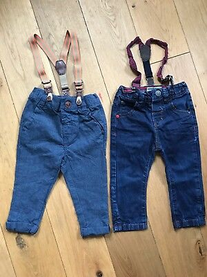 Boys Next Trousers Jeans With Braces 9-12 Months