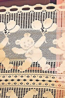"""10+ yards Vintage Teddy Bear 23"""" Crocheted Curtain Lace with 12"""" Valance"""