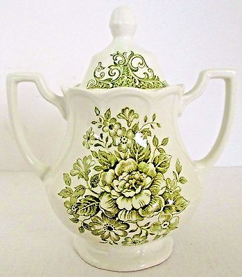 J & G Meakin Avondale Green Sugar Bowl Royal Staffordshire Ironstone England