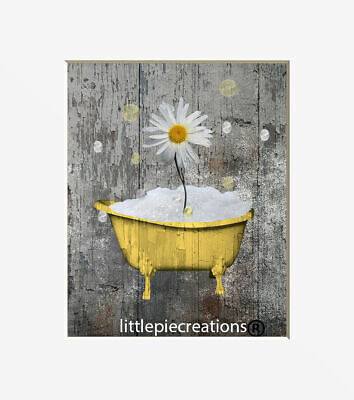 Rustic Yellow Gray Bathroom Farmhouse Wall Art Home Decor Matted Picture
