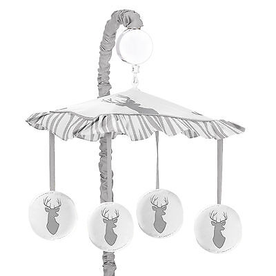 Sweet Jojo Musical Mobile For Grey And White Woodland Deer Baby Crib Bedding Set
