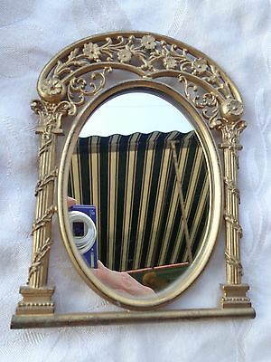 Vintage Gold Gilt Vines On Collumn Floral Classical Small Vanity Mirror Frame