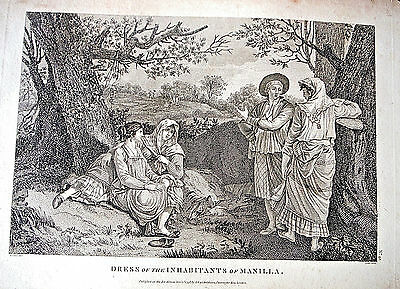 1798 MANILA Philippines PI antique print LaPerouse costume natives Manilla engrv