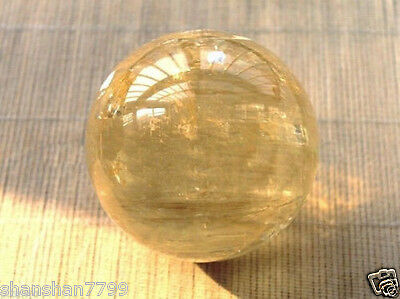 40mm Natural Citrine Calcite Quartz Crystal Sphere Ball Healing Gemstone+Stand p