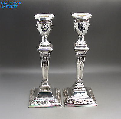 ANTIQUE STUNNING PAIR OF AESTHETIC SOLID STERLING SILVER CANDLESTICKS 1140g 1901