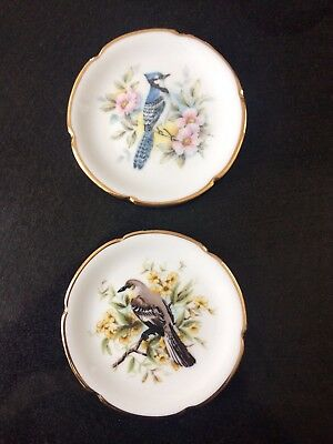 Pair Of Limoges China Trinket Dishes With Bird Designs