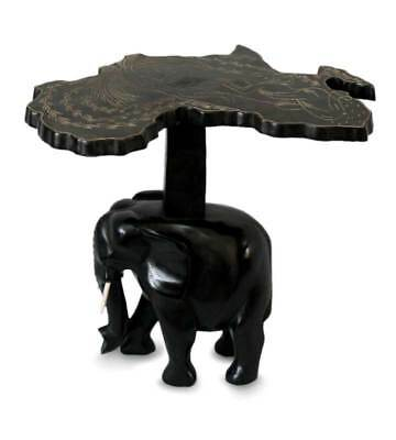 AFRICAN ELEPHANT Ghana Artist's HAND CARVED Accent End Table NOVICA