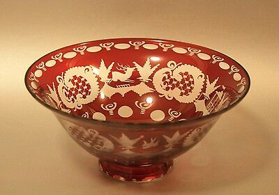 Bohemian ruby red cut to clear crystal bowl with original sticker Egermann Czech