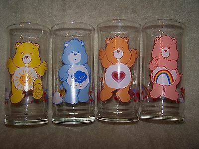 Vintage 1983 Pizza Hut Care Bears Glasses - Lot Of 4
