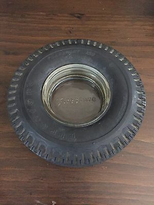 FIRESTONE Rubber Tire with Clear Glass Ashtray 1960s Embossed Made in USA