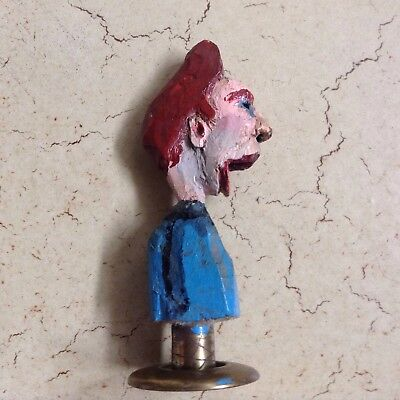 Hand Carved And Painted Miniature Folk Male Figure On Metal Stand