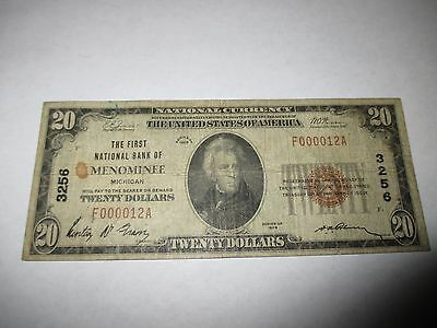 $20 1929 Menominee Michigan MI National Currency Bank Note Bill Ch. #3256 RARE!
