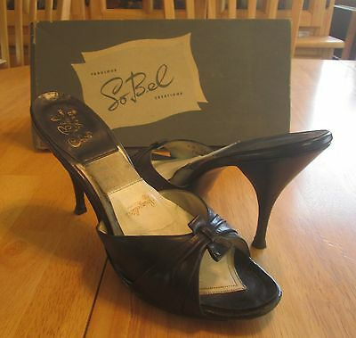 Vintage Navy Blue Leather So Bel High Heels/shoes W Springolator And Box 1960's?