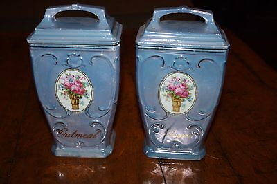 Mepoco Made In Germany Luster Ware Vintage Canister Set Oatmeal And Sugar
