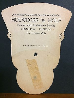 NEW LEBANON OHIO Holweger and Holp Funeral Home Mortuary Advertising Fan