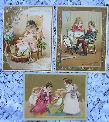3 Lg 5 x 7 Victorian Trade Cards~ McLaughlin's Coffee~Adorable Kids