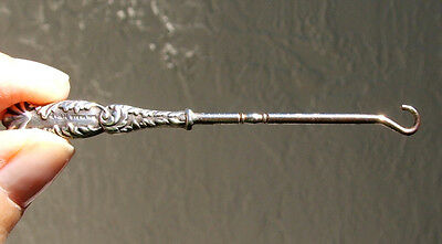 Antique H & H Sterling Silver Handle Button Hook