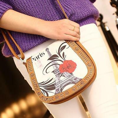 Women Girl Printing Leather Messenger Bag Lady Shoulder Bag Handbags Khaki