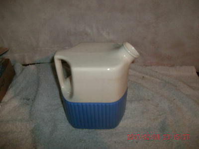 Vintage Universal Pottery Blue And Creme Water Pitcher Ohio