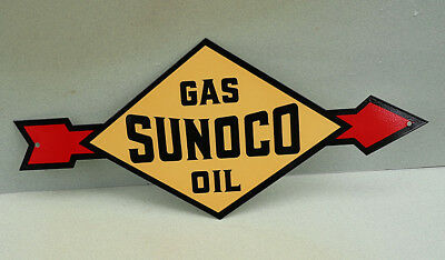 "18"" SUNOCO OIL ARROW SIGN   Diecut   Gas Pump   modern retro"