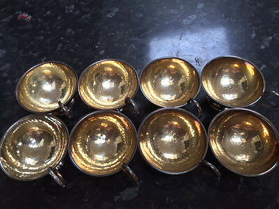 Solid Silver Swedish Cups X8 Lightly Hammered And Goldish Interior ...for Punch?
