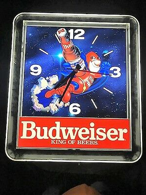 1990 Budweiser Bud Man lighted Clock Sign working