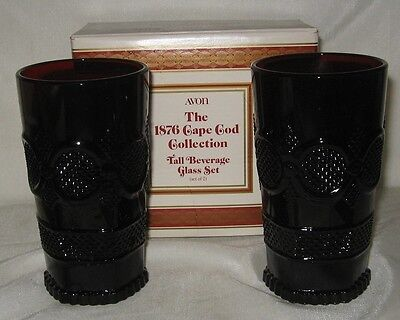 Avon Ruby Red Cape Cod 1876 2 Iced Beverage  Tumblers 11 Ounce NIDB