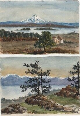 Two Antique Original Small Watercolors, 1871 Mt Baker and Olympian Range