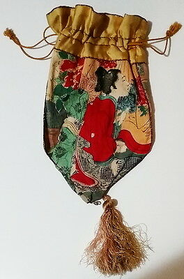 Original Antique Three Sided Chinese Hand Painted Silk Drawstring Scent Purse