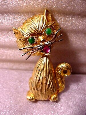 Rare 18K Cat Pin / Pendant w Emerald Eyes & Ruby Stone Mouth / 25 Grams