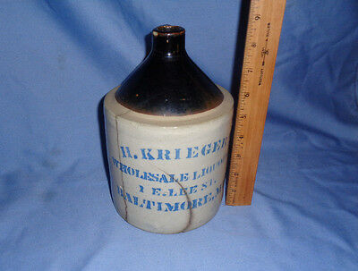 Vintage H. Krieger Wholesale Liquors Jug -- 1 E. Lee St. Baltimore, Md.