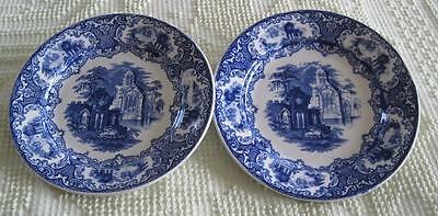 """Two Petrus Regout & Co. Maastricht Abbey Blue 8.75"""" Transfer Ware Plates Holland"""