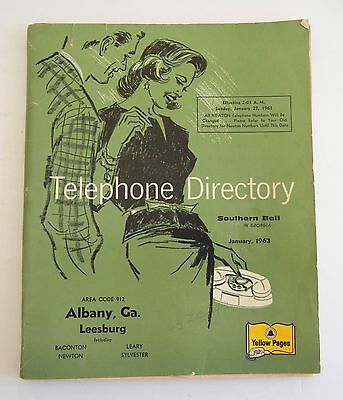 Vtg 1963 Albany GA Georgia TELEPHONE DIRECTORY Southern Bell YELLOW PAGES Phone