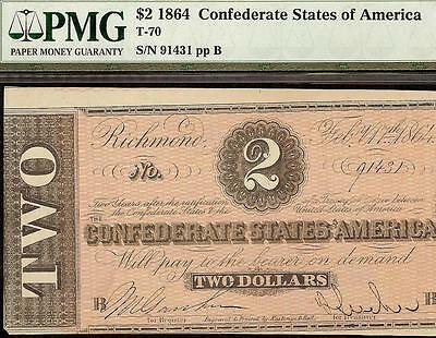 1864 $2 Dollar Bill Confederate States Currcency Civil War Note Money Pmg 58