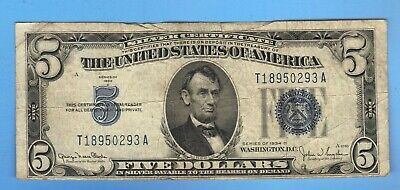 $5 1934 FIVE DOLLAR Bill Blue Seal SILVER Certificate Note OLD US Currency