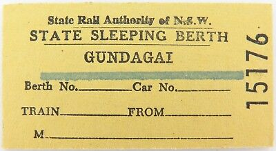 Gundagai Nsw Railway Line Closed 1984, Scarce Sleeping Berth Ticket.