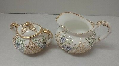 Lotus Ware Creamer and Sugar KTK Fishnet w/ Violets and Gold Accents Knowles