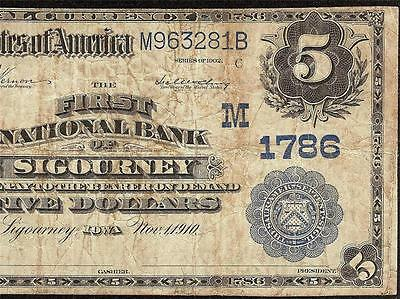 Large 1902 $5 Sigourney Iowa Keokuk County National Bank Note Currency Ch 1786