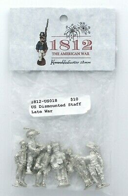 Knuckleduster 1812-US018 War of 1812 US Dismounted Staff Late War (6) Miniatures
