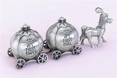 Pewter Coach Tooth and Curl Boxes Fairy Tale Tooth Fairy Gift for Boys and Girls