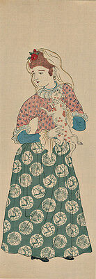 NAGASAKI PRINT - Japanese Woodblock Print  A DUTCH WOMAN WITH HER DOG