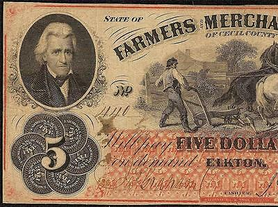 1863 $5 Dollar Cecil County Elkton Maryland Bank Note Large Paper Money Jackson